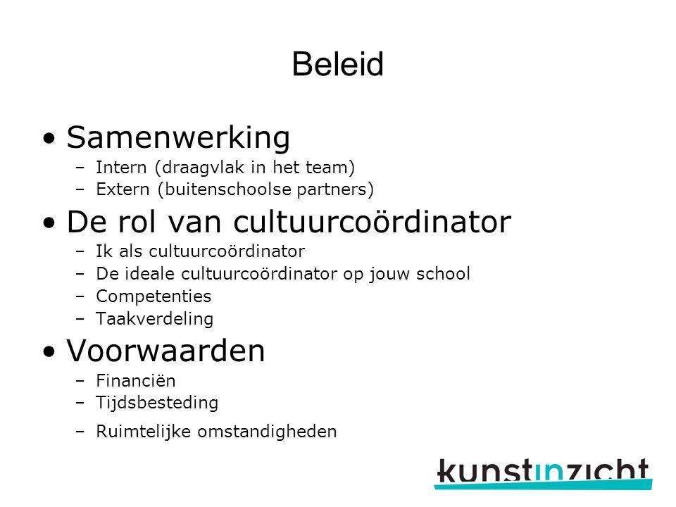 Beleid Samenwerking De rol van cultuurcoördinator Voorwaarden