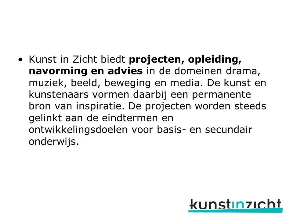Kunst in Zicht biedt projecten, opleiding, navorming en advies in de domeinen drama, muziek, beeld, beweging en media.