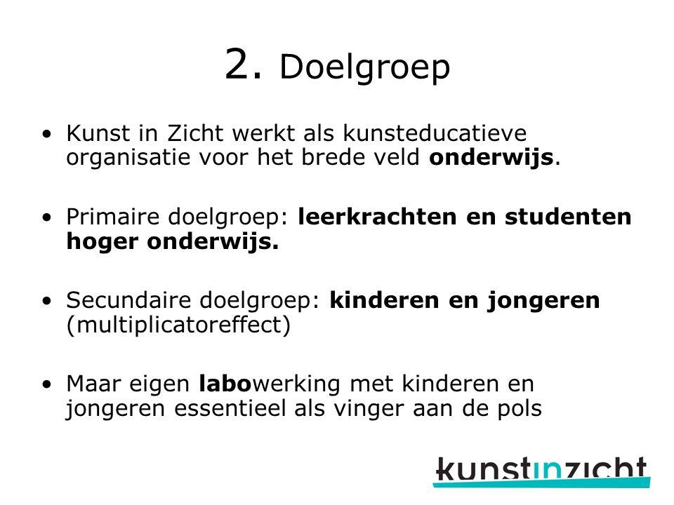 2. Doelgroep Kunst in Zicht werkt als kunsteducatieve organisatie voor het brede veld onderwijs.