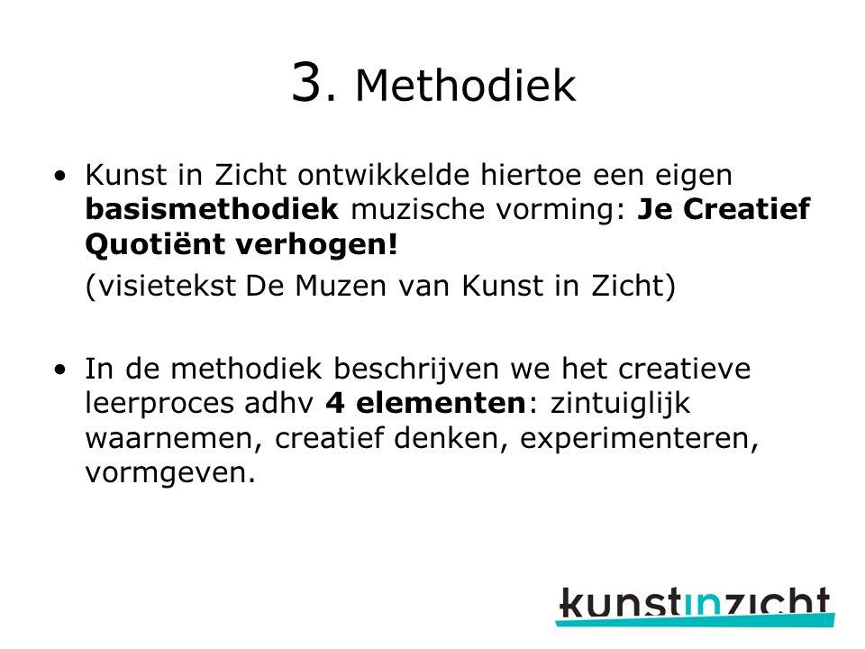 3. Methodiek Kunst in Zicht ontwikkelde hiertoe een eigen basismethodiek muzische vorming: Je Creatief Quotiënt verhogen!