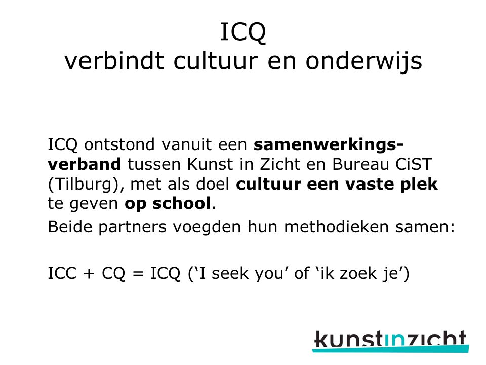 ICQ verbindt cultuur en onderwijs