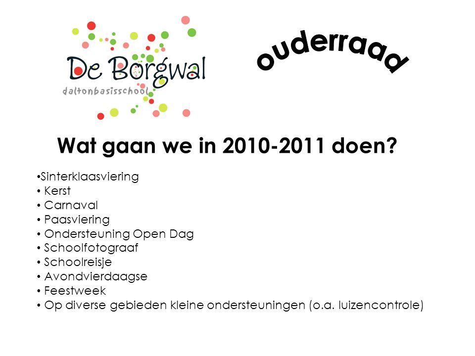 ouderraad Wat gaan we in 2010-2011 doen Sinterklaasviering Kerst