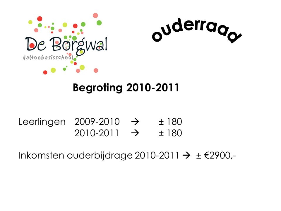 ouderraad Begroting 2010-2011 Leerlingen 2009-2010  ± 180