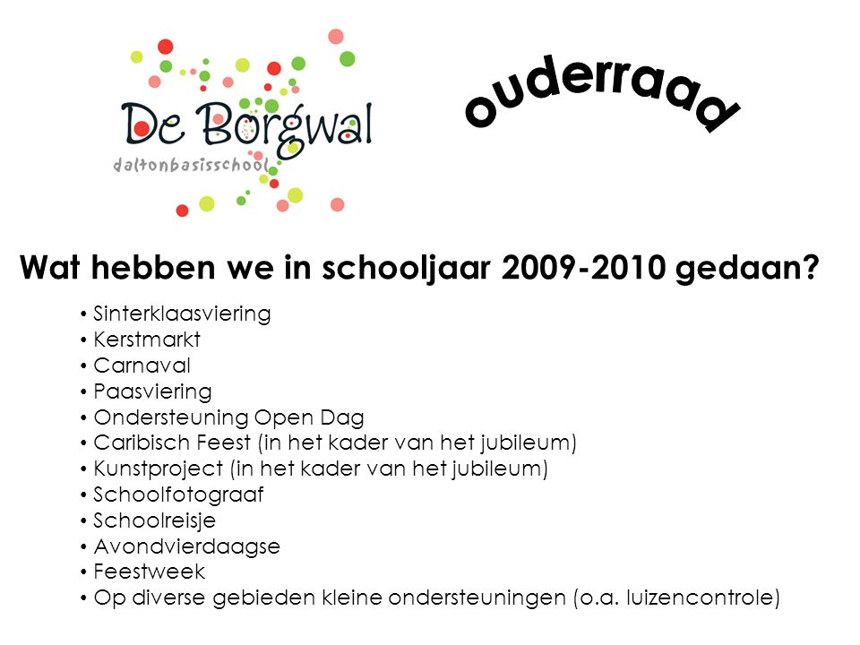 ouderraad Wat hebben we in schooljaar 2009-2010 gedaan