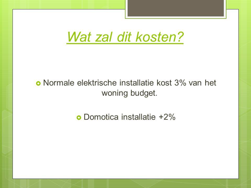 Wat zal dit kosten. Normale elektrische installatie kost 3% van het woning budget.