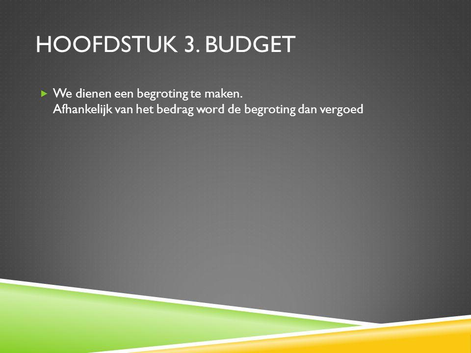 Hoofdstuk 3. Budget We dienen een begroting te maken.