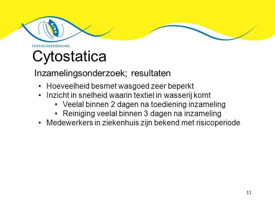 Cytostatica Inzamelingsonderzoek; resultaten