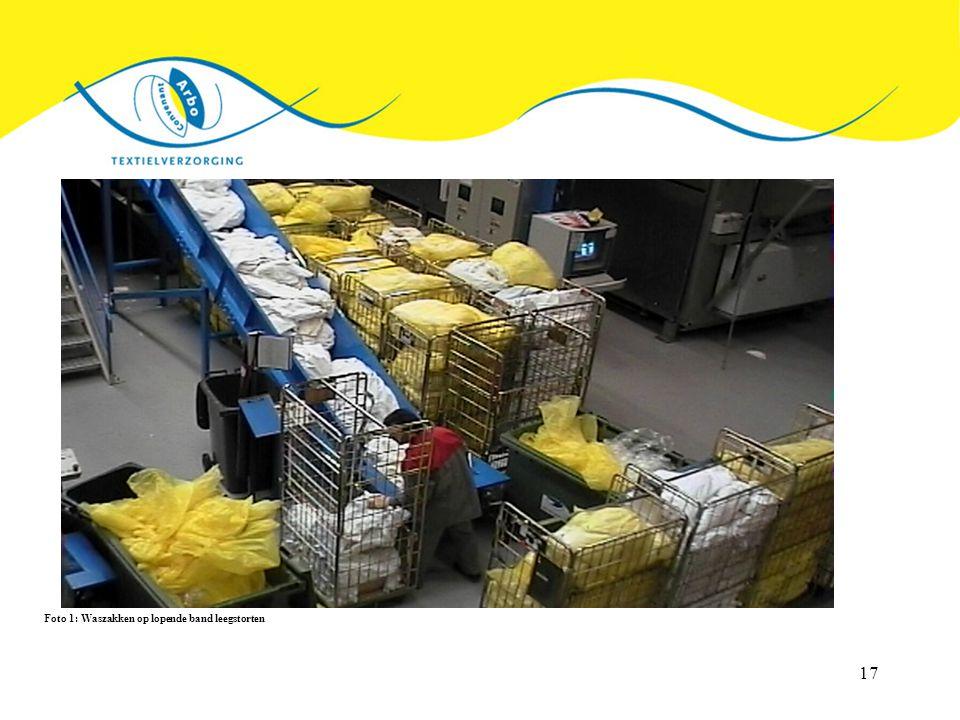 Foto 1: Waszakken op lopende band leegstorten