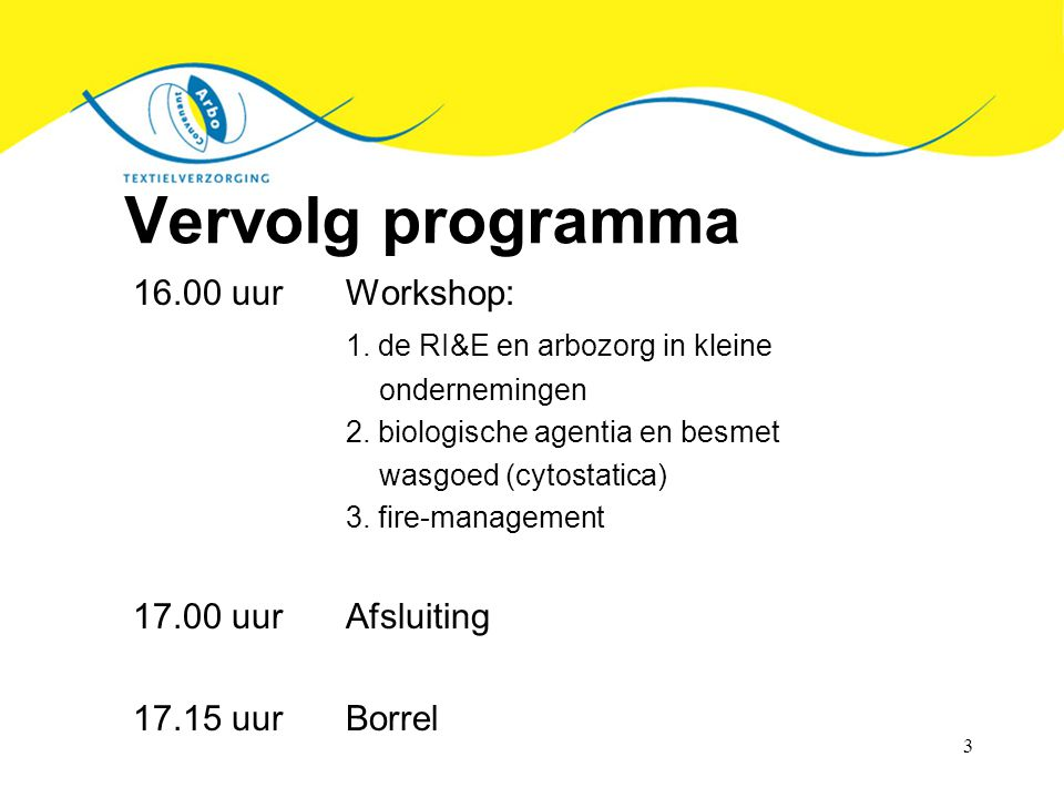 Vervolg programma 16.00 uur Workshop: 1. de RI&E en arbozorg in kleine