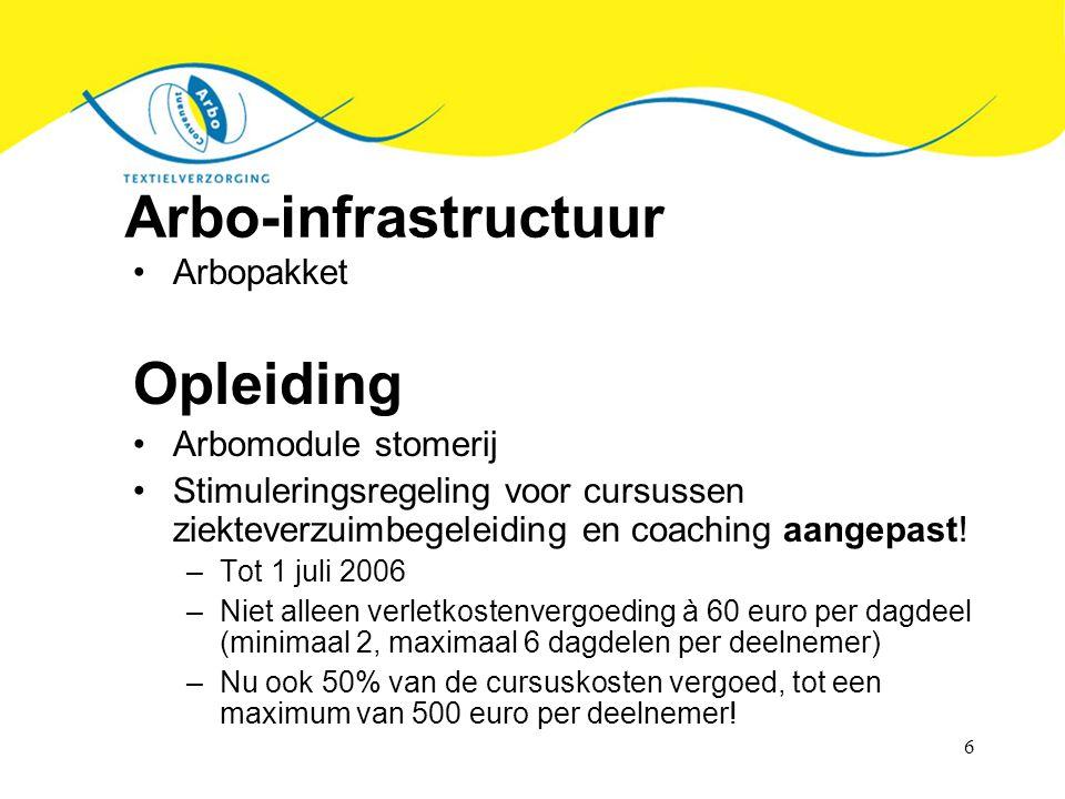 Arbo-infrastructuur Opleiding Arbopakket Arbomodule stomerij