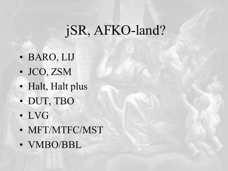 jSR, AFKO-land BARO, LIJ JCO, ZSM Halt, Halt plus DUT, TBO LVG