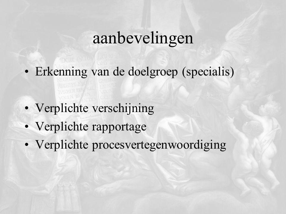 aanbevelingen Erkenning van de doelgroep (specialis)