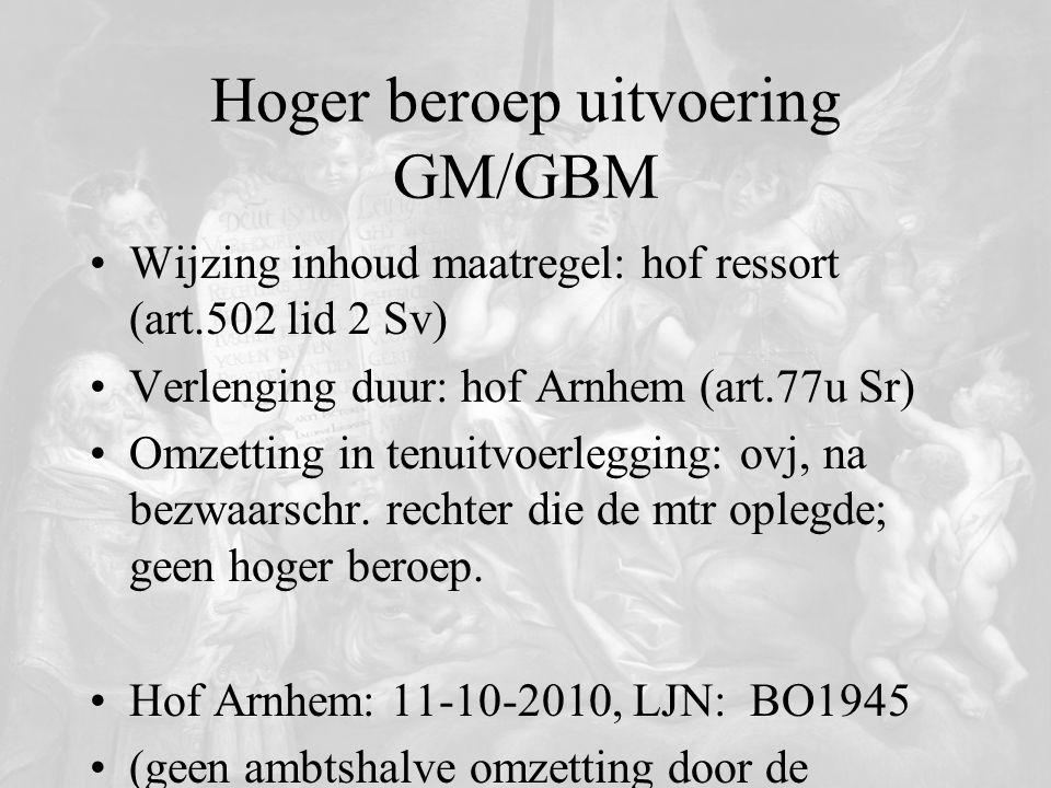 Hoger beroep uitvoering GM/GBM