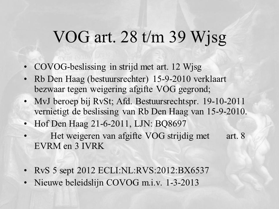 VOG art. 28 t/m 39 Wjsg COVOG-beslissing in strijd met art. 12 Wjsg