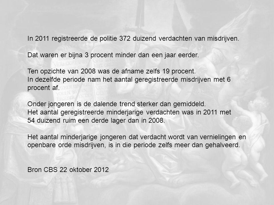 In 2011 registreerde de politie 372 duizend verdachten van misdrijven.