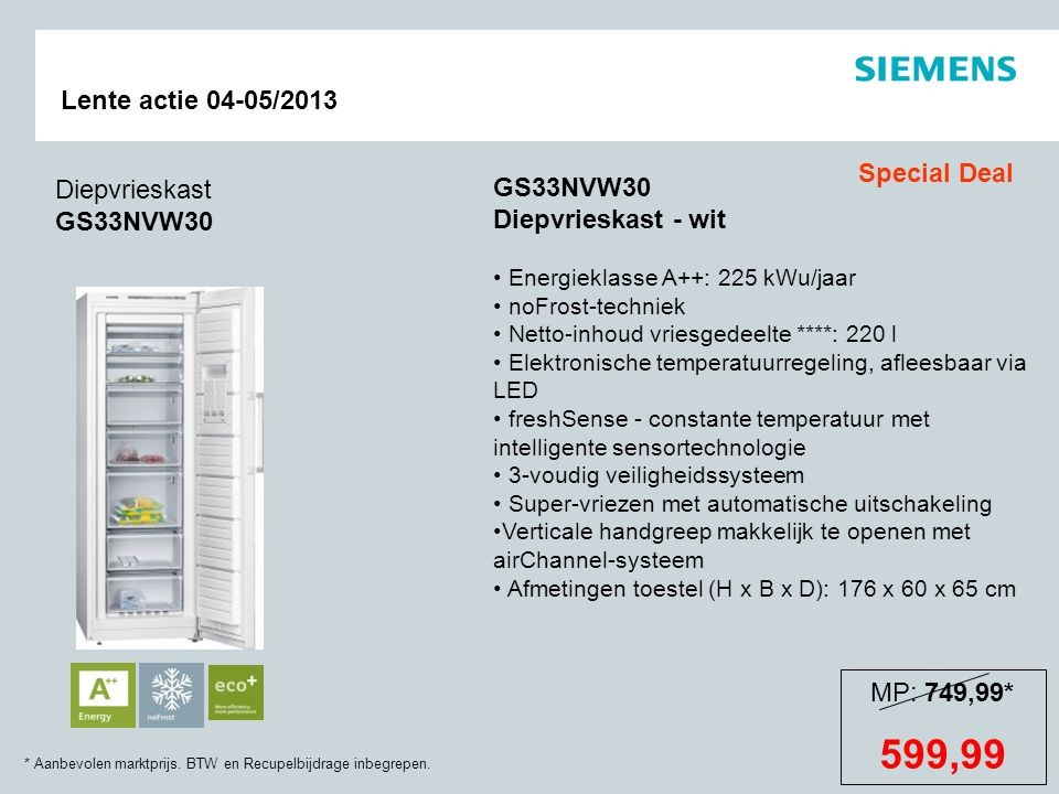 599,99 Special Deal Diepvrieskast GS33NVW30 GS33NVW30
