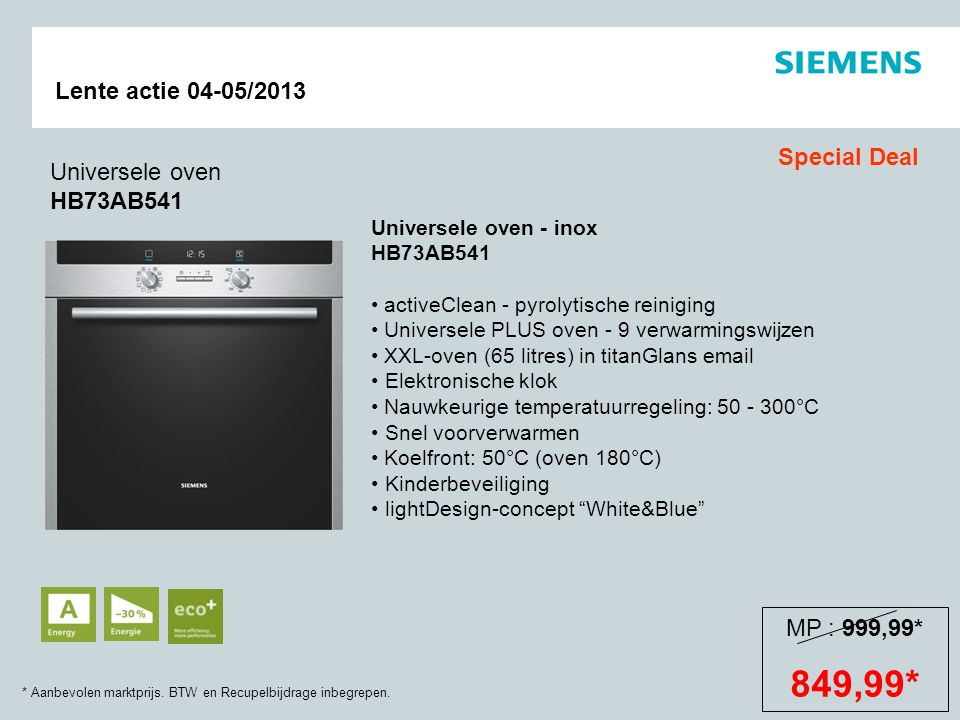 849,99* Special Deal Universele oven HB73AB541 MP : 999,99*