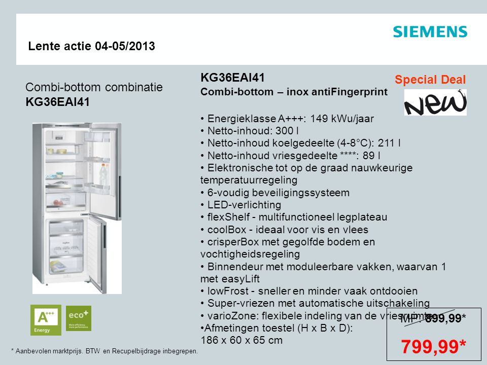 799,99* KG36EAI41 Special Deal Combi-bottom combinatie KG36EAI41