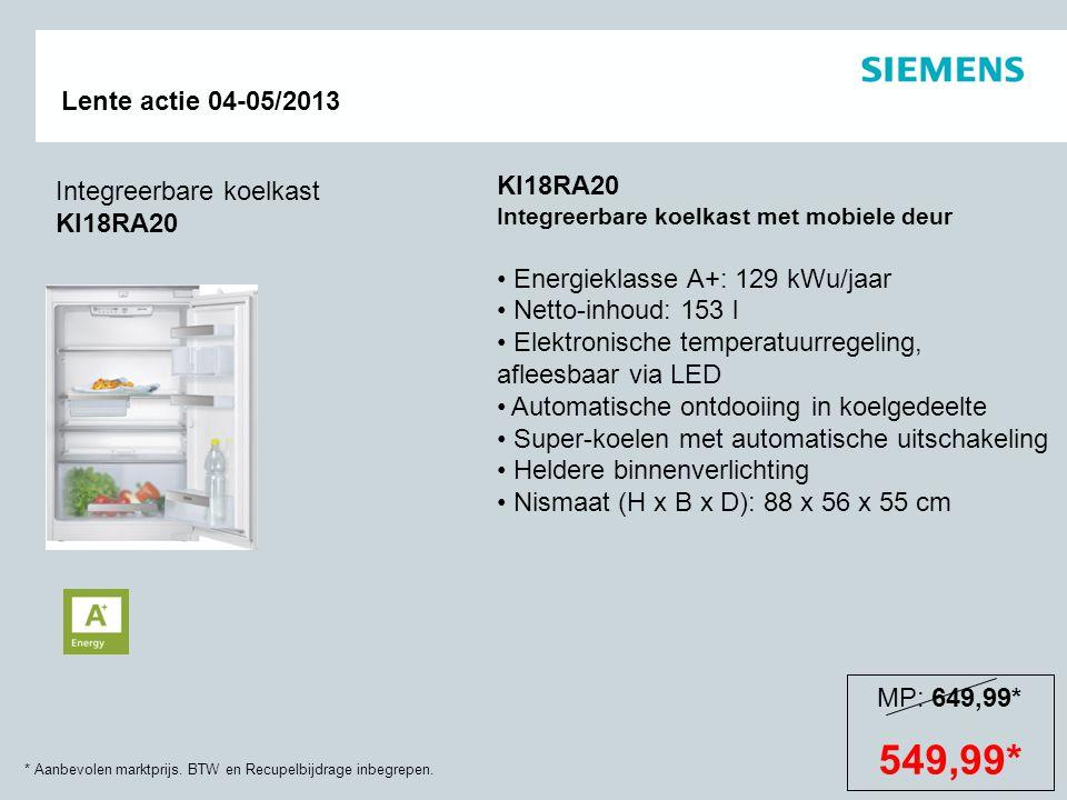 549,99* KI18RA20 Integreerbare koelkast KI18RA20