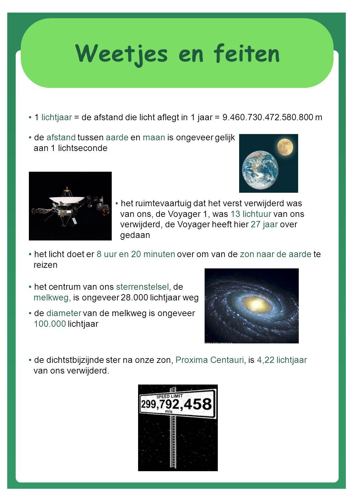 Weetjes en feiten 1 lichtjaar = de afstand die licht aflegt in 1 jaar = 9.460.730.472.580.800 m.