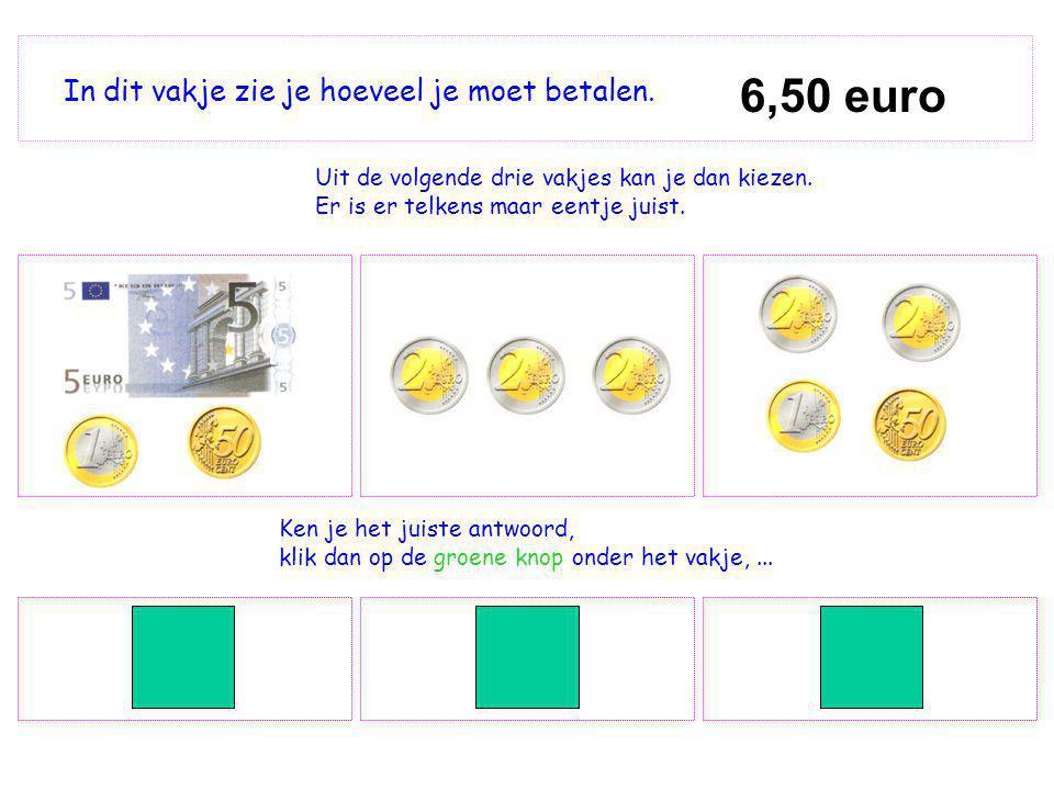 6,50 euro In dit vakje zie je hoeveel je moet betalen.