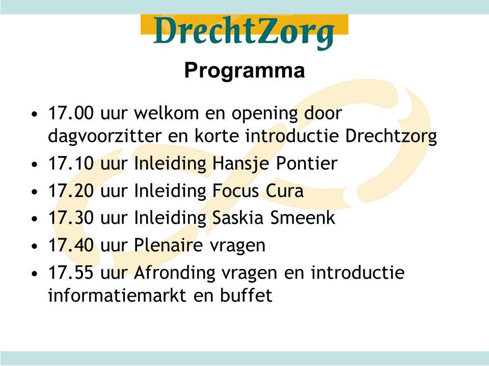 Programma 17.00 uur welkom en opening door dagvoorzitter en korte introductie Drechtzorg. 17.10 uur Inleiding Hansje Pontier.