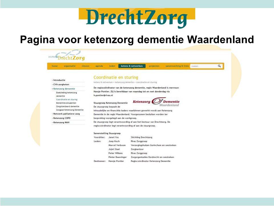 Pagina voor ketenzorg dementie Waardenland