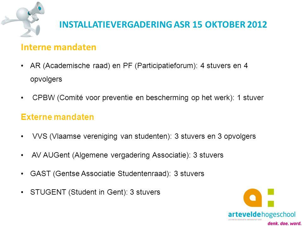 INSTALLATIEVERGADERING ASR 15 OKTOBER 2012 Interne mandaten