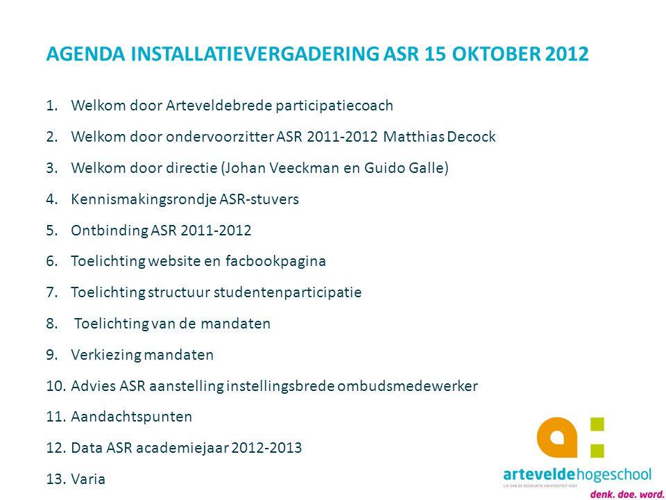 AGENDA INSTALLATIEVERGADERING ASR 15 OKTOBER 2012