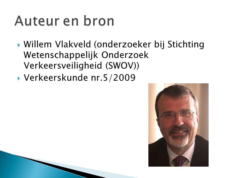 Auteur en bron Willem Vlakveld (onderzoeker bij Stichting Wetenschappelijk Onderzoek Verkeersveiligheid (SWOV))
