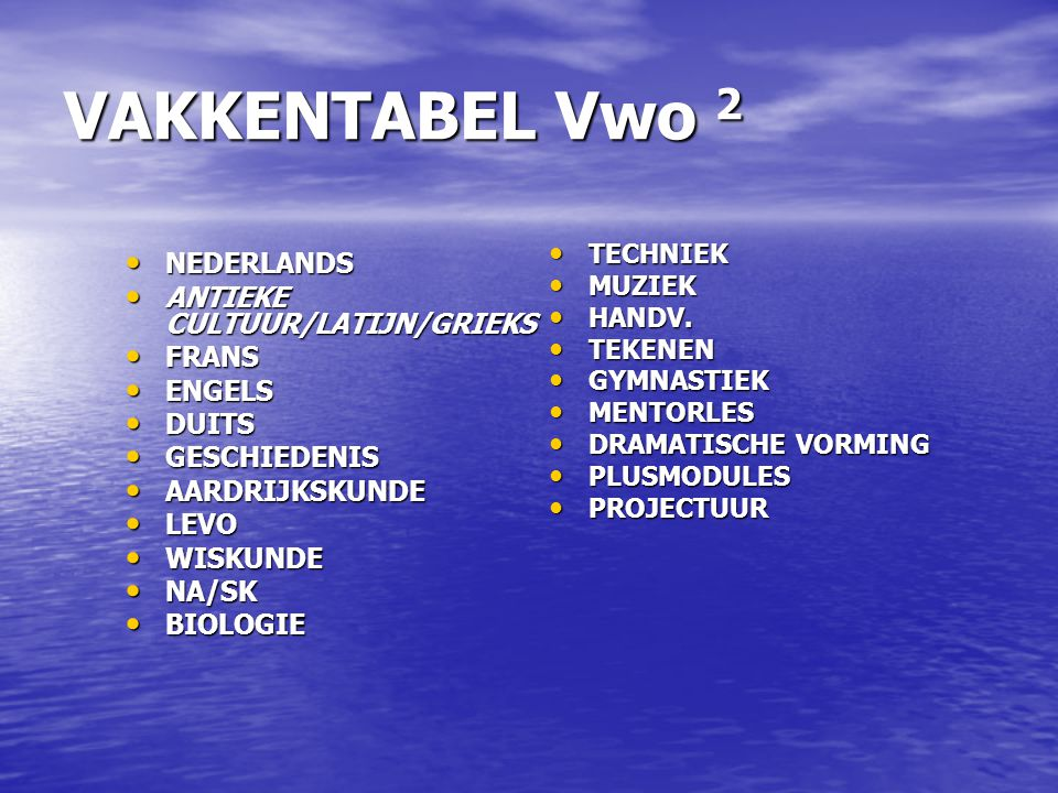 VAKKENTABEL Vwo 2 NEDERLANDS ANTIEKE CULTUUR/LATIJN/GRIEKS FRANS