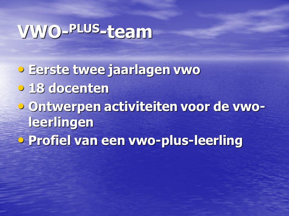 VWO-PLUS-team Eerste twee jaarlagen vwo 18 docenten