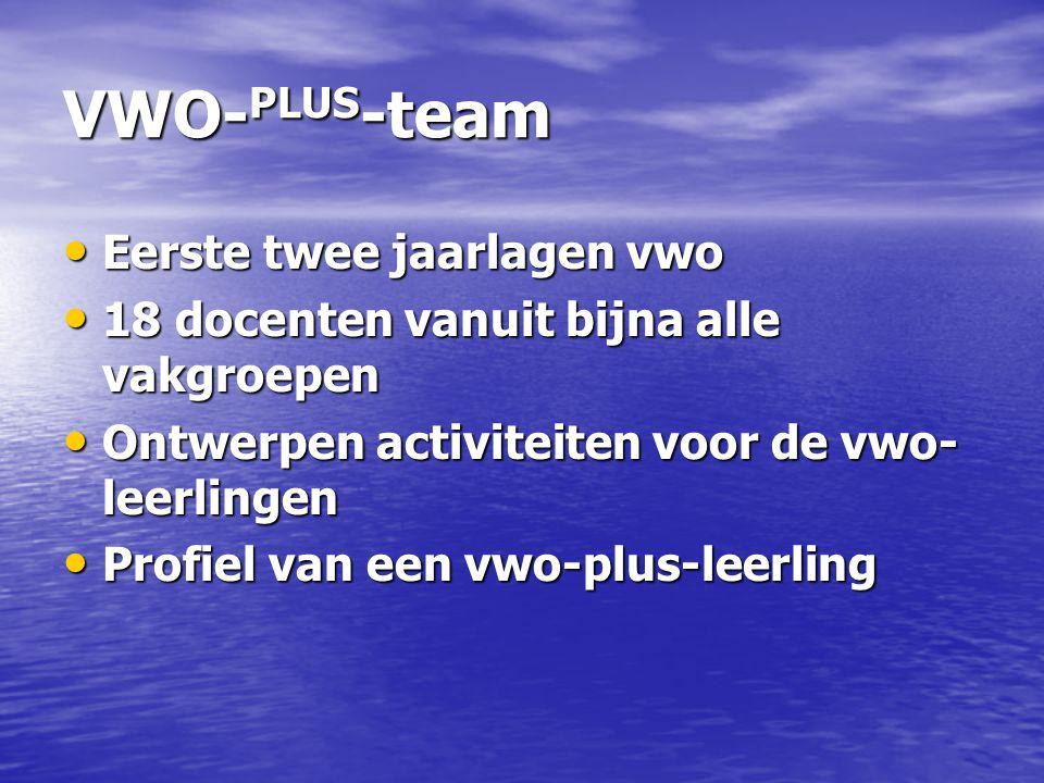 VWO-PLUS-team Eerste twee jaarlagen vwo