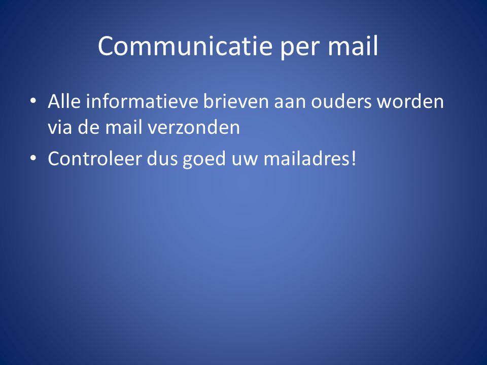 Communicatie per mail Alle informatieve brieven aan ouders worden via de mail verzonden.