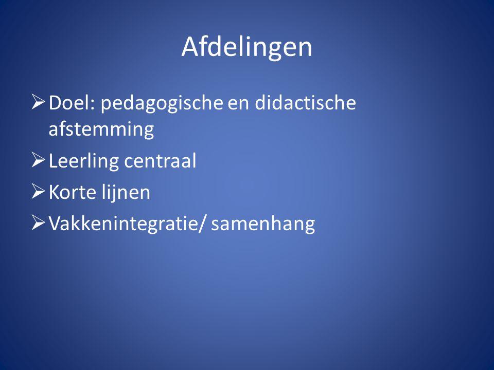 Afdelingen Doel: pedagogische en didactische afstemming