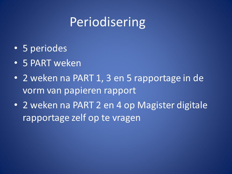 Periodisering 5 periodes 5 PART weken