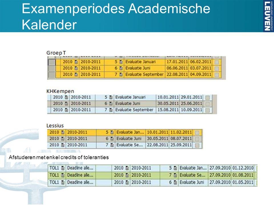 Examenperiodes Academische Kalender