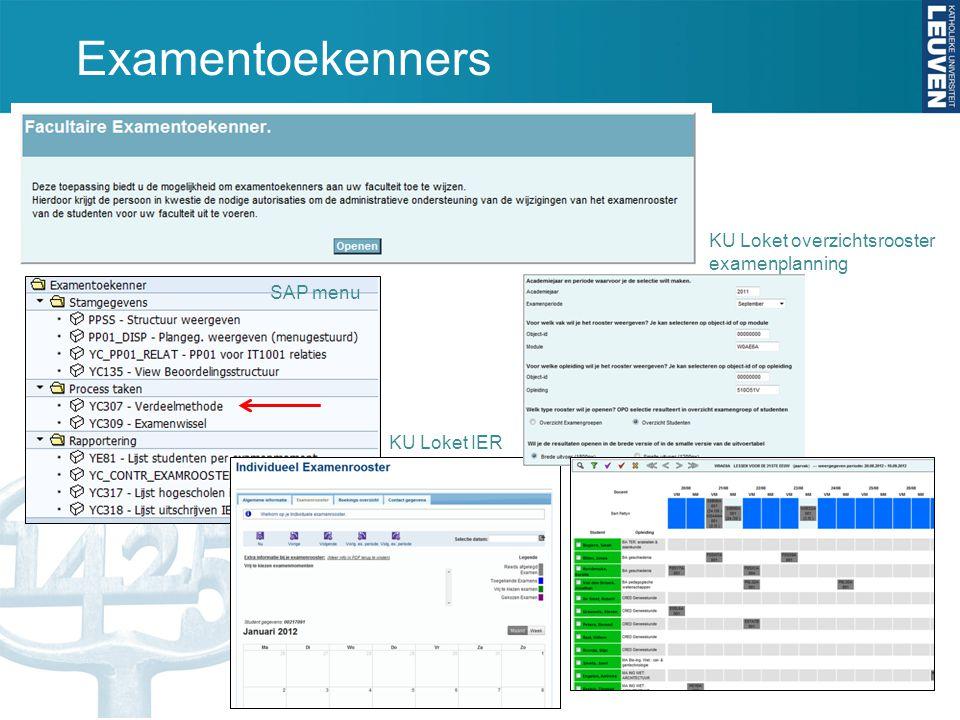 Examentoekenners KU Loket overzichtsrooster examenplanning SAP menu