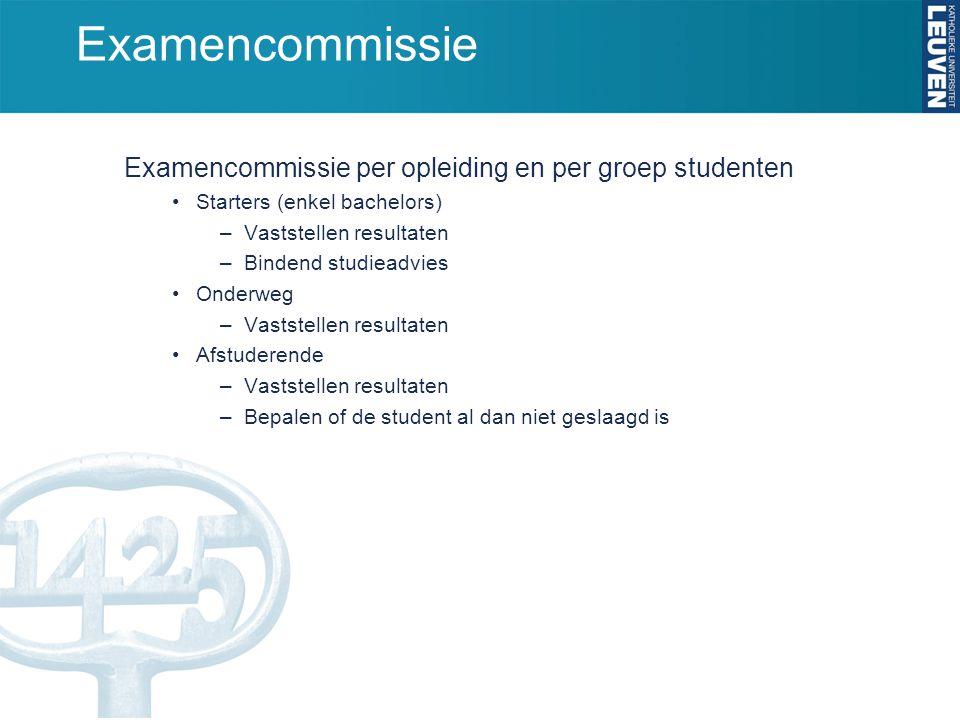 Examencommissie Examencommissie per opleiding en per groep studenten