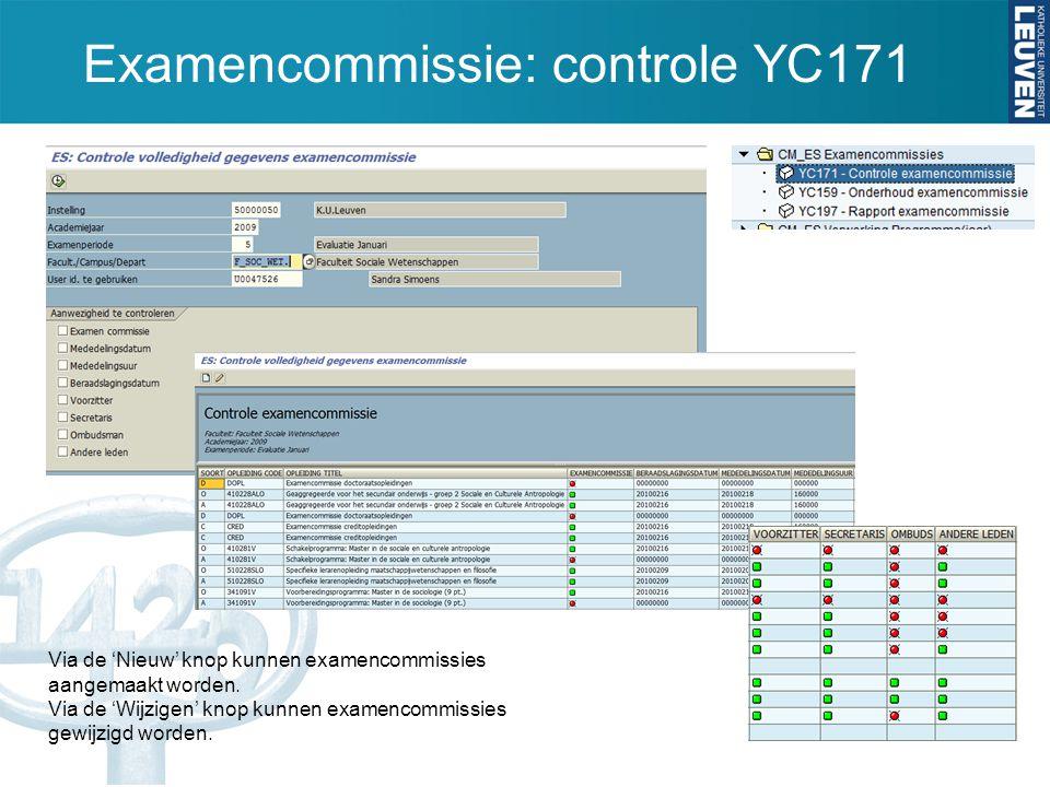 Examencommissie: controle YC171