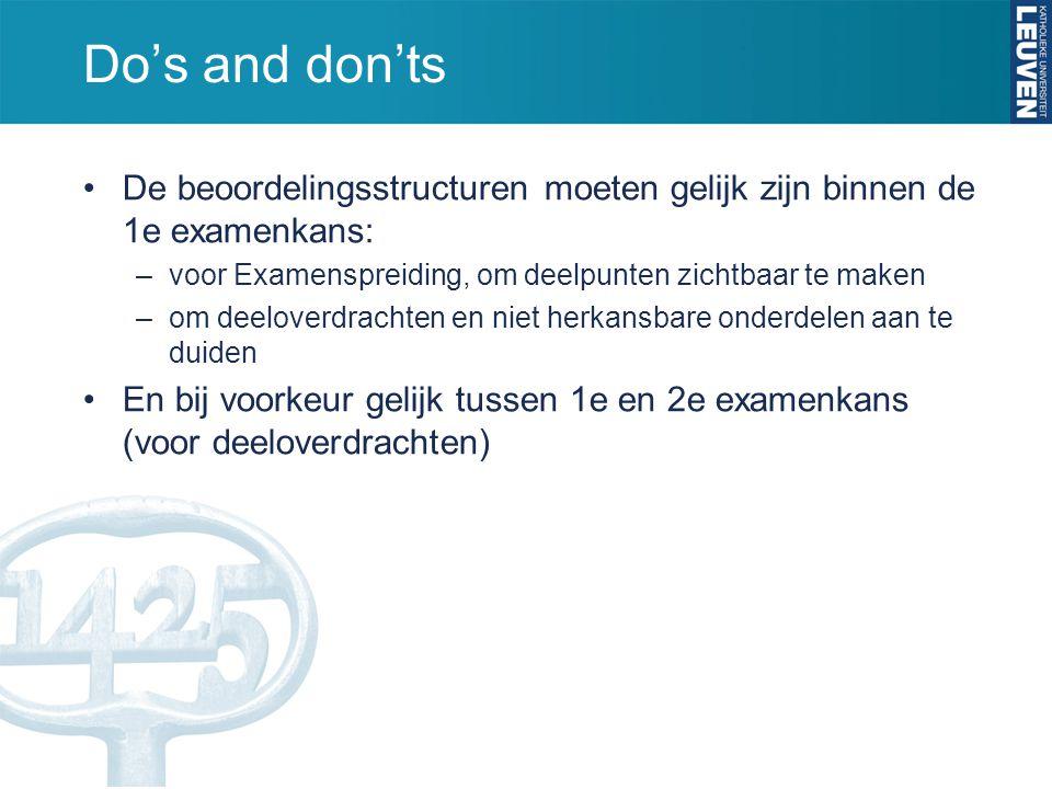 Do's and don'ts De beoordelingsstructuren moeten gelijk zijn binnen de 1e examenkans: voor Examenspreiding, om deelpunten zichtbaar te maken.