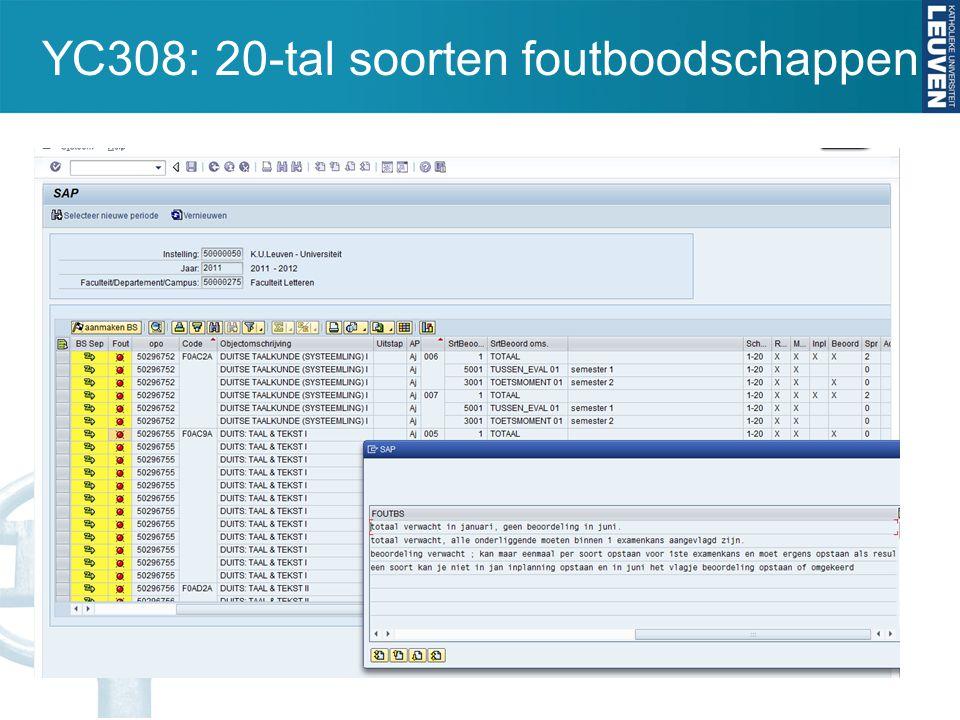 YC308: 20-tal soorten foutboodschappen