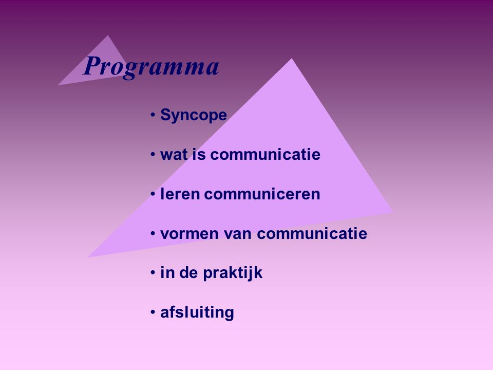 Programma Syncope wat is communicatie leren communiceren