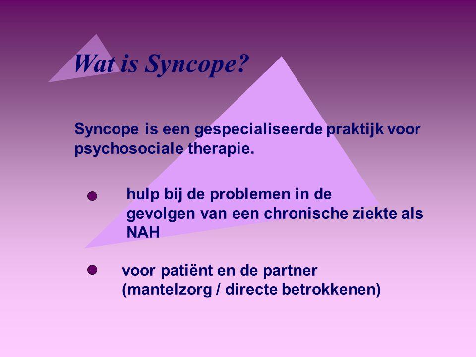 Wat is Syncope Syncope is een gespecialiseerde praktijk voor psychosociale therapie. hulp bij de problemen in de.