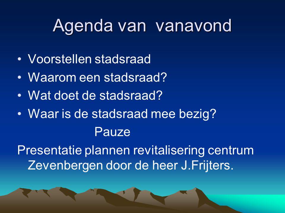 Agenda van vanavond Voorstellen stadsraad Waarom een stadsraad