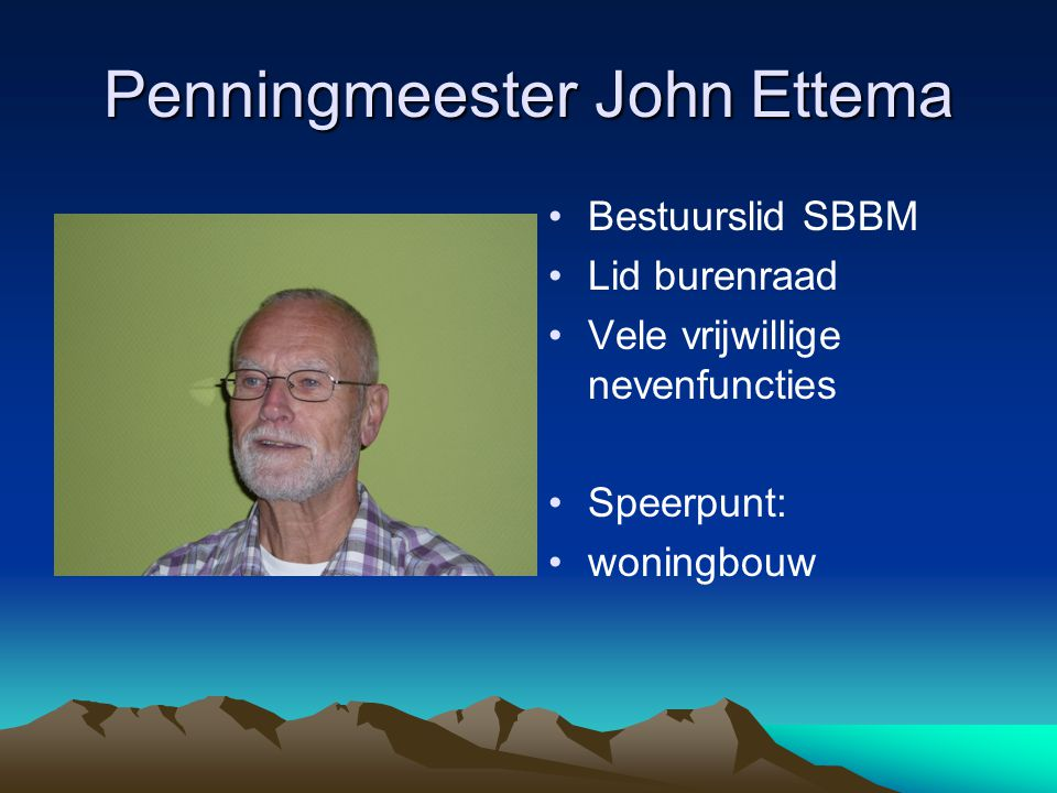 Penningmeester John Ettema