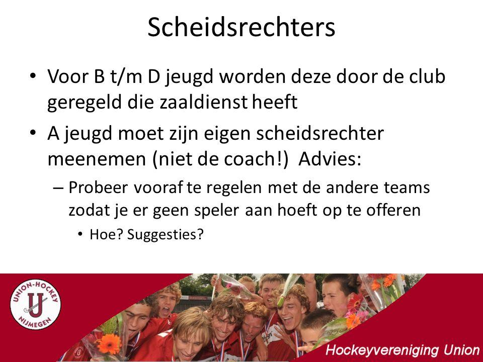 Scheidsrechters Voor B t/m D jeugd worden deze door de club geregeld die zaaldienst heeft.
