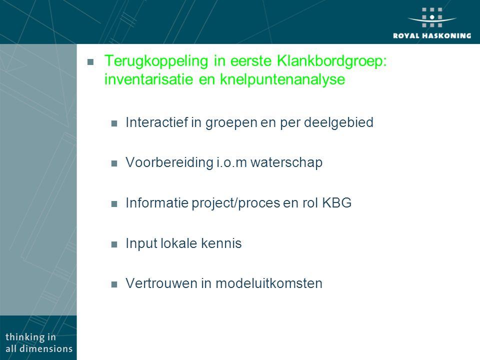 Terugkoppeling in eerste Klankbordgroep: inventarisatie en knelpuntenanalyse