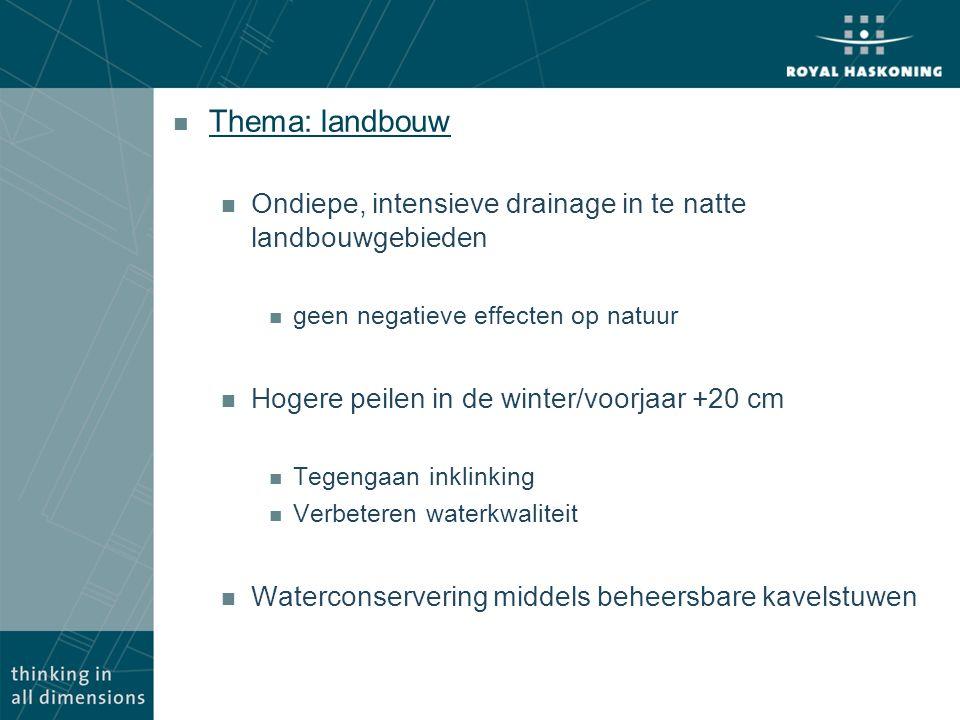 Thema: landbouw Ondiepe, intensieve drainage in te natte landbouwgebieden. geen negatieve effecten op natuur.