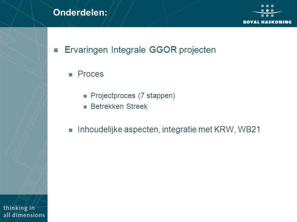 Onderdelen: Ervaringen Integrale GGOR projecten Proces
